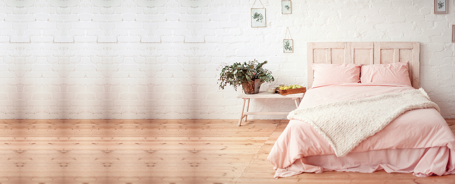 Create a romantic bedroom using these colours
