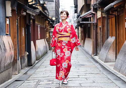 Kimono in autumn colour dress