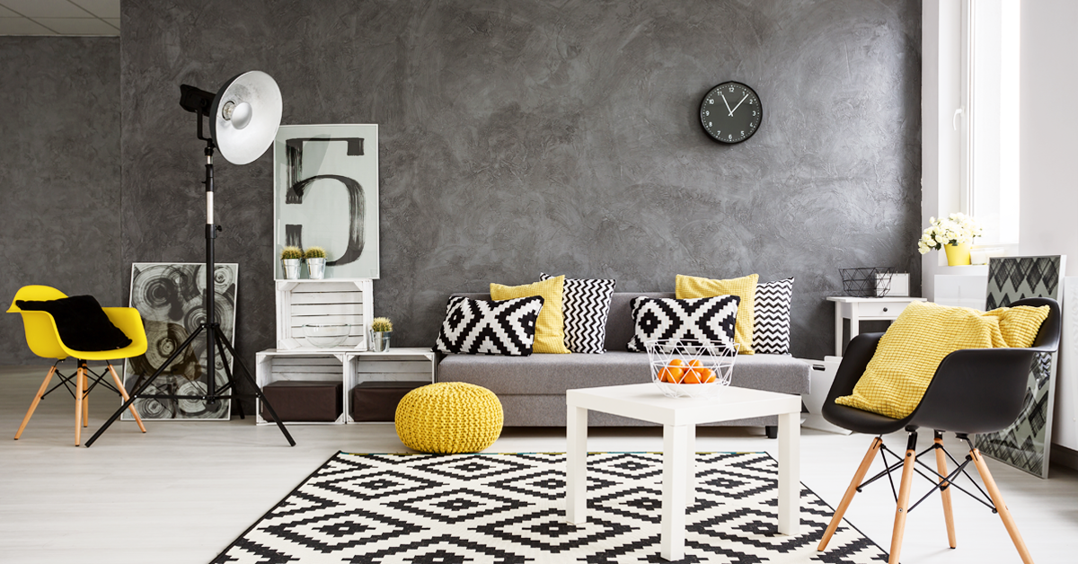 Grey wall interiors