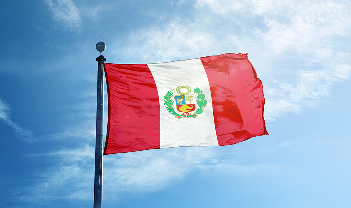 The colourful flag of Peru