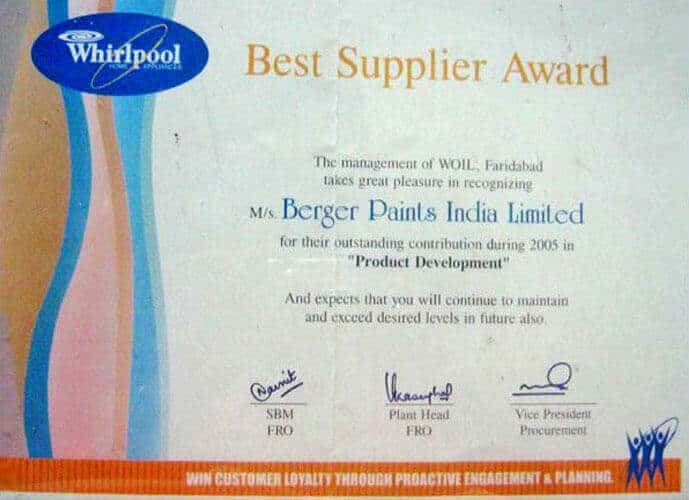 Best Supplier Award Outstanding contribution in Product Development OEM customer M/S Whirlpool - 2005, Faridabad
