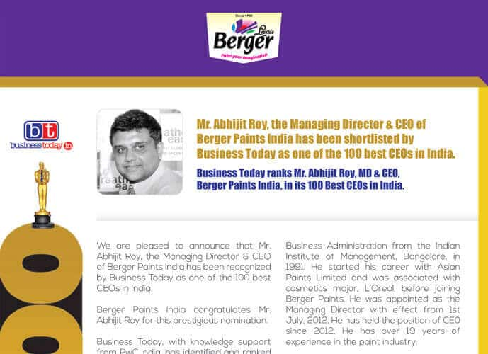 Business Today ranks Mr. Abhijit Roy, MD & CEO, Berger Paints India, in its 100 Best CEOs in India