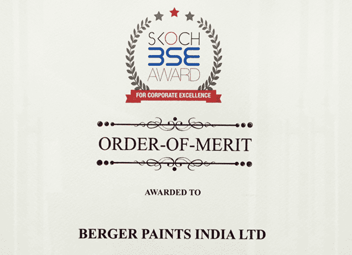 Berger Express Painting Awarded SKOCH-BSE Order of Merit in the Innovation category at the 48th SKOCH-BSE Summit