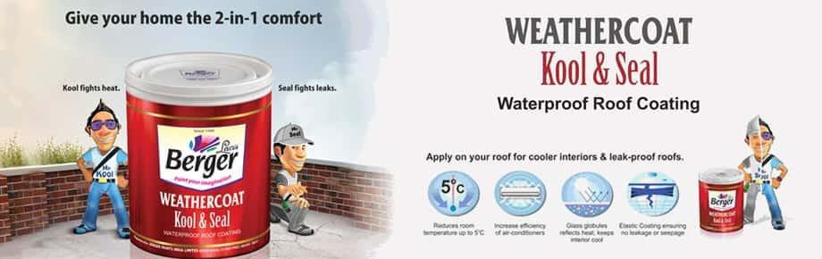 Weathercoat kool seal waterproof roof coating berger paints - Waterproofing paint for exterior walls collection ...